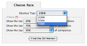 choosing a year on oilmoney site